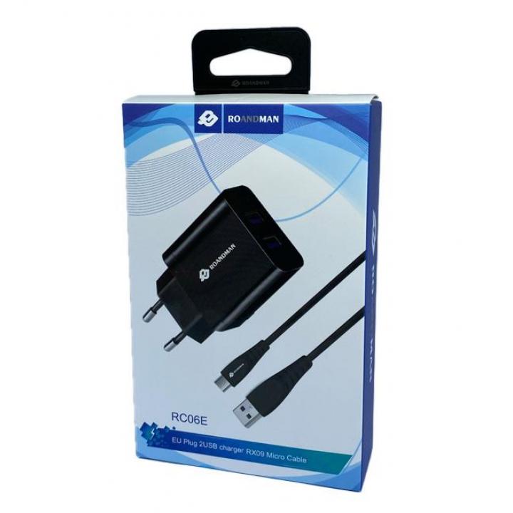 HOCO adapter 2.1A 2x SB + Type-c kabel črn