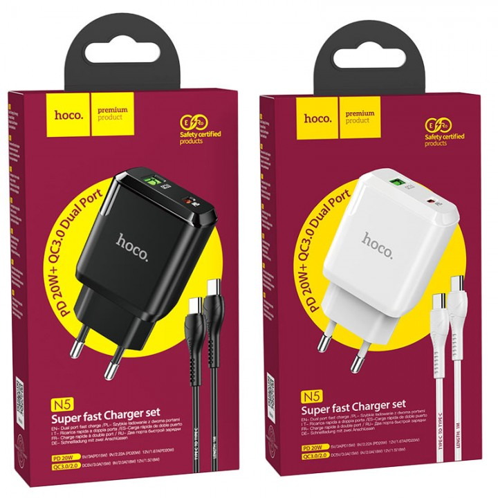 HOCO adapter + 1x USB kabel Type-c v type-c črn