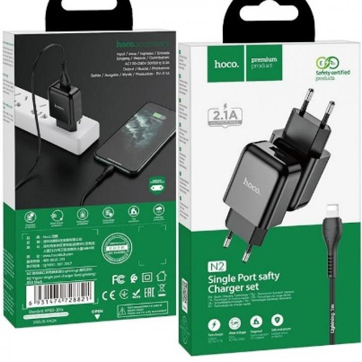 HOCO adapter 2.1A 1x USB vhod + lightning kabel črn