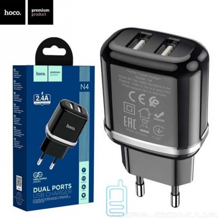 HOCO adapter 12W 2.4A 2x USB vhod črn