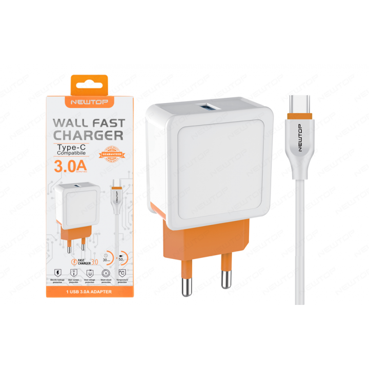 Newtop polnilec 3A fast charger TYPE-C