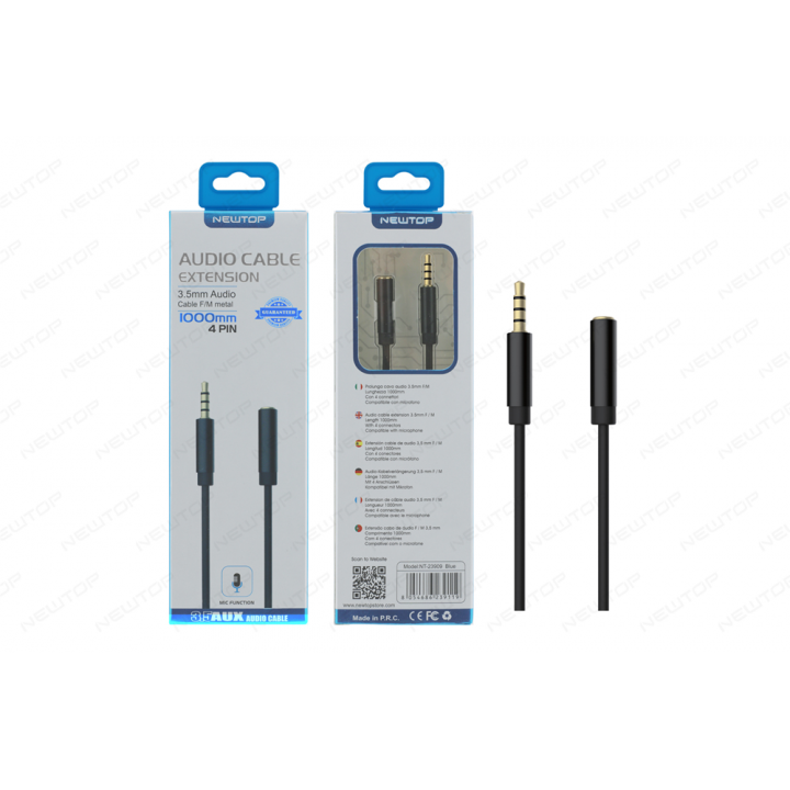 Newtop Aux kabel 3.5mm Audio 1m z mikrofonom