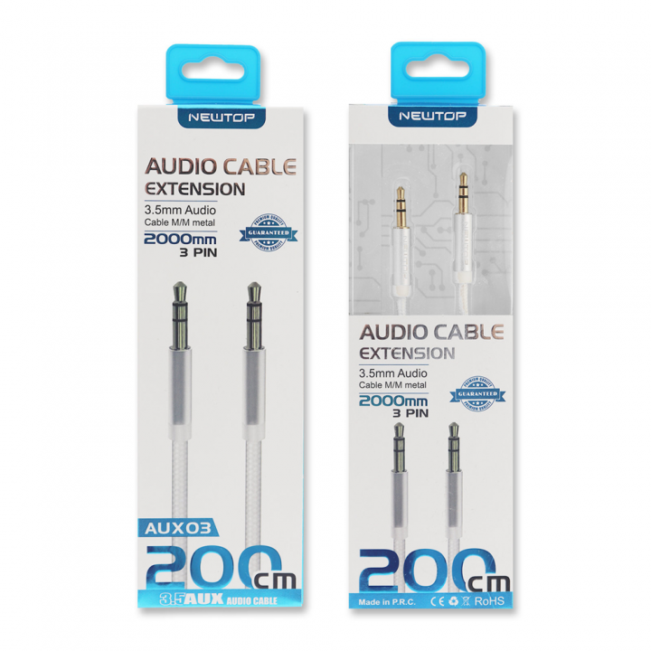 Newtop Aux kabel Audio 3.5mm M/M 200cm