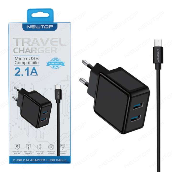 Newtop polnilec z dvemi vhodi 2.1A Micro USB
