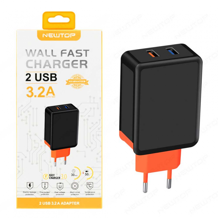 Newtop adapter z dvemi vhodi fast charge 3.2A