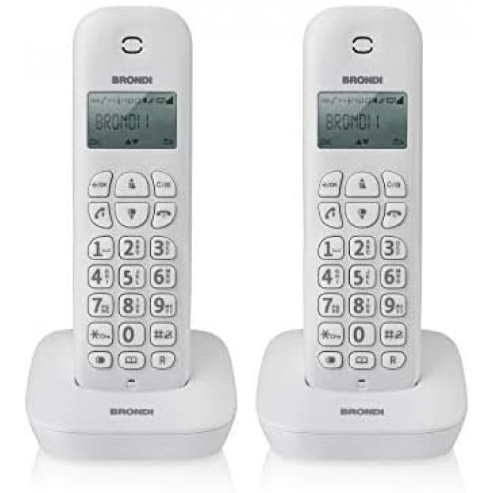Stacionarni telefon Brondi brezžični bel